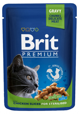 Konservi kaķiem - BRIT Premium, Chicken Slices for Sterilised, 100 g