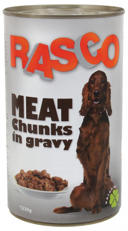 Konservi suņiem - Rasco Meat pieces in juice, 1230g