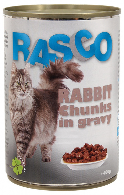 Konservi kaķiem - RASCO Rabbit Chunks in gravy, 400g