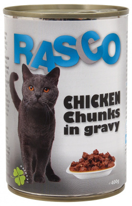 Konservi kaķiem - RASCO Chicken Chunks in gravy, 400g