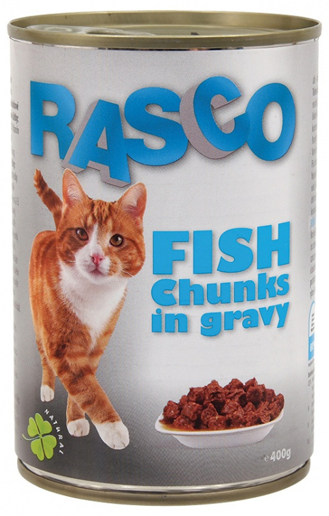Konservi kaķiem - RASCO Fish Chunks in gravy, 415 g