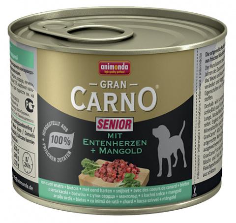 Консервы для собак - GranCarno Mini Senior with duck hearts & chard 200g