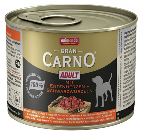 Konservi suņiem - GranCarno Mini Adult with duck hearts & salsify 200g title=