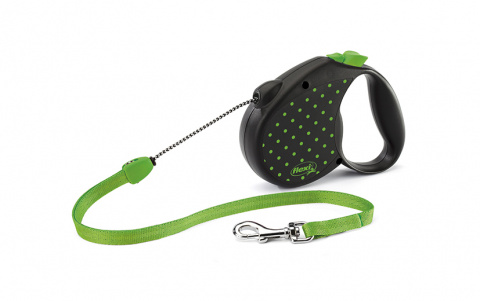 Поводок-рулетка для собак - Flexi Color Dots Cord M, 5 м, green title=