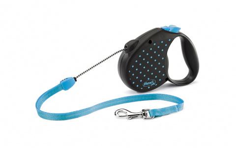 Поводок-рулетка для собак - Flexi Color Dots Cord M, 5 м, blue title=