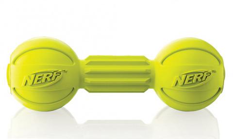 Rotaļlieta suņiem - NERF Barbell Chew zaļa, 19 cm title=