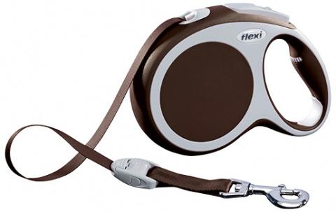 Поводок-рулетка для собак - FLEXI Vario Tape L 8м, цвет - коричневый title=