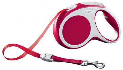 Поводок-рулетка для собак - FLEXI Vario Tape M 5м, цвет - красный