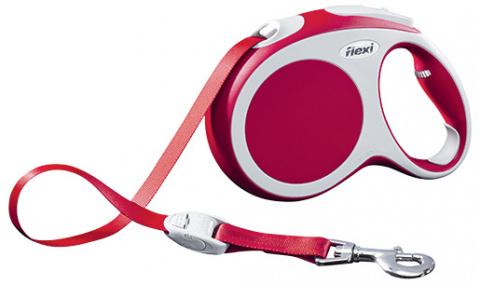 Inerces pavada suņiem - FLEXI Vario Tape L 5m, krāsa - sarkana