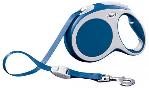 Поводок-рулетка для собак - FLEXI Vario Tape L 5м, цвет - синий title=