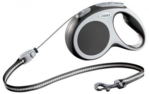 Поводок-рулетка для собак - FLEXI Vario Cord M 5м, цвет - антрацит