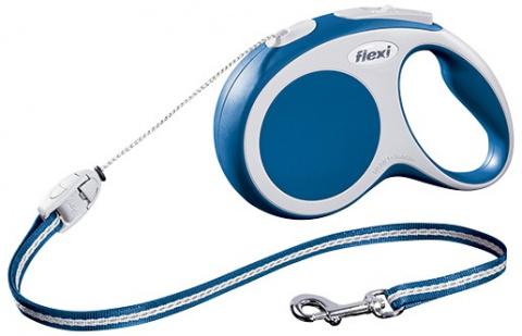 Поводок-рулетка для собак - FLEXI Vario Cord S 8м, цвет - синий