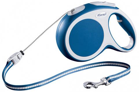 Inerces pavada suņiem - FLEXI Vario Cord M 8m, krāsa - zila title=