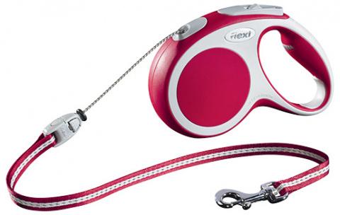 Поводок-рулетка для собак - FLEXI Vario Cord M 5м, цвет - красный title=