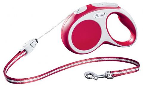Поводок-рулетка для собак - FLEXI Vario Cord S 5м, цвет - красный title=
