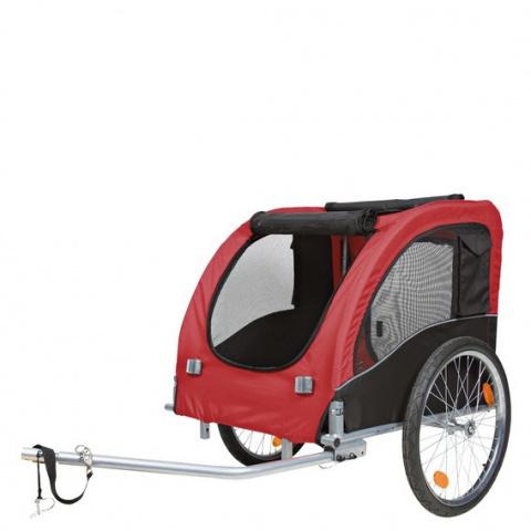 Velosipēda piekabe - TRIXIE Bicycle trailer, L: 75*86*80 (145)cm, krāsa - melna/sarkana  title=