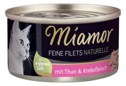 Konservi kaķiem - Miamor Filet Naturelle Tuna&Crab, 80 g