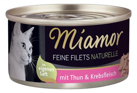 Konservi kaķiem - Miamor Filet Naturelle Tuna and Crab, 80 g title=