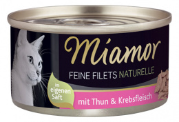 Konservi kaķiem - Miamor Filet Naturelle Tuna and Crab, 80 g