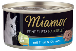 Konservi kaķiem - Miamor Filet Naturelle Tuna and Shrimps, 80 g
