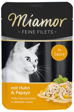 Konservi  kaķiem - Miamor Feine Filet Chicken&Papaya in Sauce 100g