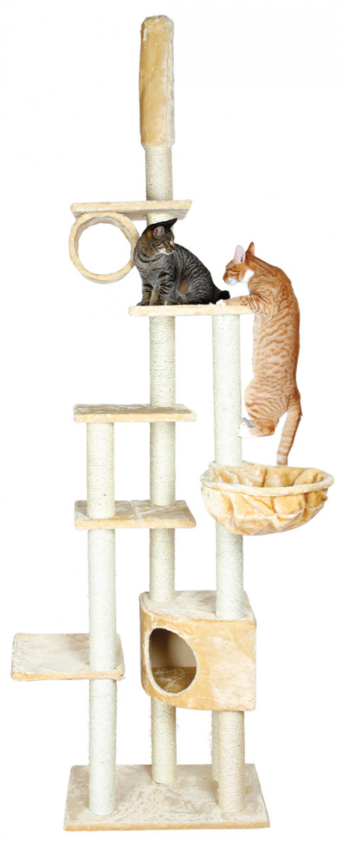 Домик для кошек – TRIXIE Madrid Scratching Post, 68 x 44 x 245–270 см, Beige title=
