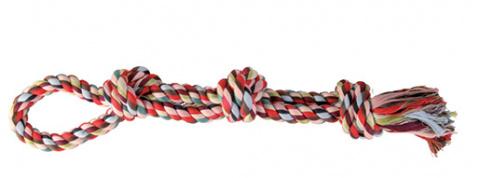 Игрушка для собак - Denta Fun Игровая веревка, двойная, 60cm, Хлопок mix