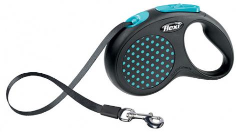 Поводок-рулетка для собак - FLEXI Design Dots Tape S 5м, черный/синий