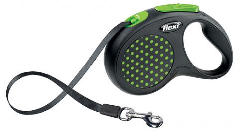 Поводок-рулетка для собак - FLEXI Design Dots Tape S 5м, черный / зеленый title=