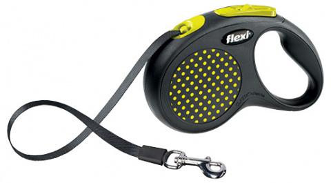 Inerces pavada suņiem - FLEXI Design Dots Tape M-L 5m, krāsa - melna/dzeltena title=