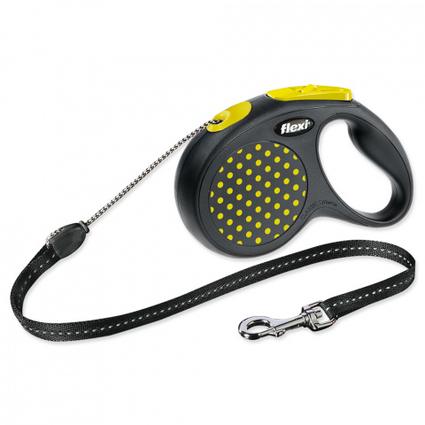 Inerces pavada suņiem - FLEXI Design Dots Cord S 5m, krāsa - melna/dzeltena title=