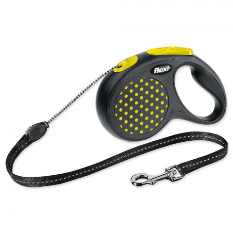 Поводок-рулетка для собак - FLEXI Design Dots Cord S 5м, цвет - черный / желтый title=