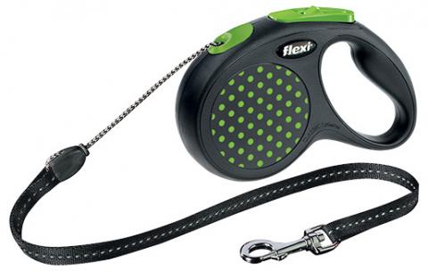 Поводок-рулетка для собак - FLEXI Design Dots Cord S 5м, цвет - черный / зеленый