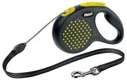 Поводок-рулетка для собак - FLEXI Design Dots Cord M 5м, цвет - черный/желтый