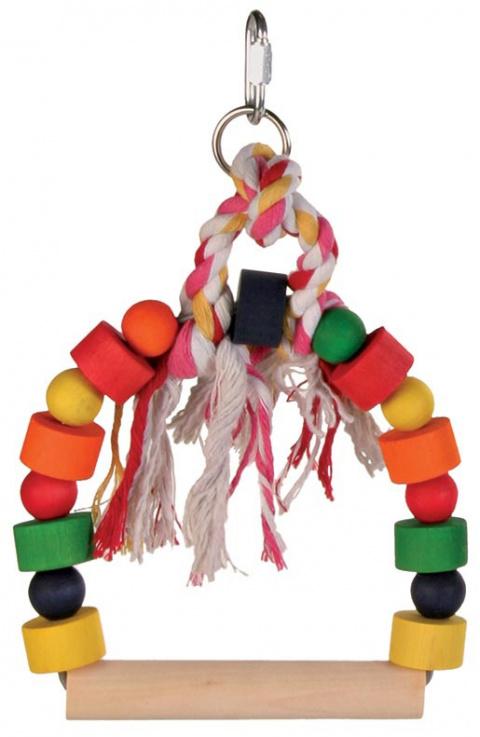 Šupolītes putniem - Arch swing with colourful wooden blocks, 13 x 19 cm title=