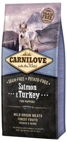 Barība kucēniem - CARNILOVE Salmon and Turkey for Puppies, 12 kg