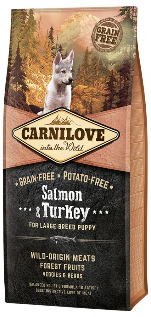 Barība kucēniem - CARNILOVE Salmon and Turkey for Large Breed Puppy, 12 kg title=