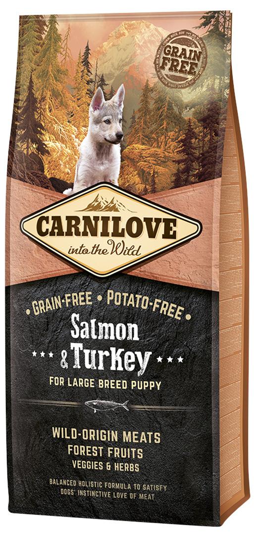 Barība kucēniem - CARNILOVE Salmon and Turkey for Large Breed Puppy, 12 kg