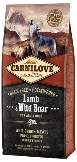 Barība suņiem - CARNILOVE Lamb and Wild Boar for Adult, 12 kg