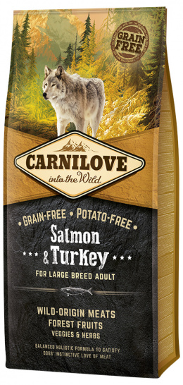 Barība suņiem - CARNILOVE Salmon & Turkey for Large Breed Adult, 12kg