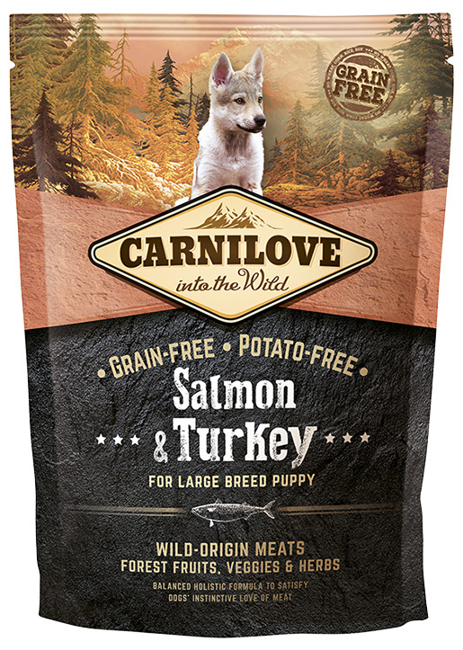 Barība kucēniem - CARNILOVE Salmon & Turkey for Large Breed Puppy, 1.5 kg