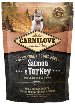Корм для щенков - CARNILOVE Salmon & Turkey for Large Breed Puppy, 1.5 кг