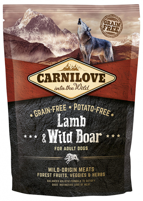 Barība suņiem - CARNILOVE Lamb and Wild Boar for Adult, 1,5 kg title=
