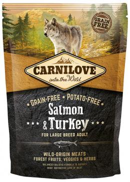Barība suņiem - CARNILOVE pieaugušiem lielo šķirņu suņiem, ar tītara gaļu un lasi, 1.5kg