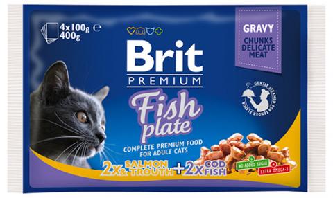 Konservi kaķiem – Brit Premium Cat Pouches Fish Plate, 4 x 100 g title=