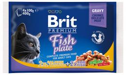Konservi kaķiem – Brit Premium Cat Pouches Fish Plate, 4 x 100 g