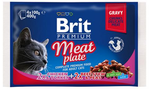 Konservi kaķiem – Brit Premium Cat Pouches Meat Plate, 4 x 100 g title=