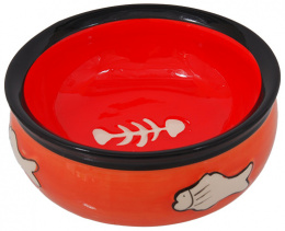 Bļoda kaķiem - MAGIC CAT, Ceramic Bowl with fishbone, orange, 12.5 cm