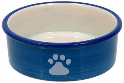 Миска для кошек – MAGIC CAT, Ceramic Bowl with Paws, Blue, 12,5 см title=