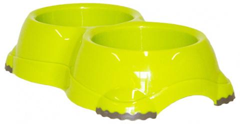 Миска для собак - DogFantasy, нескользящий, двойной, пластик, зеленый, 2*645 ml title=